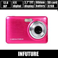 12.0 mega pixels digital camera 2.7''  display 4 x digital zoom metal panel rechargable lithium battery  free shipping dc-500fz