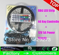 100 sets 5M/roll 300 LED RGB SMD 3528  Waterproof led Strip light + 44key IR Remote + 5A 12V  DHLorFEDEX delivery