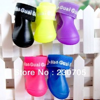 Candy Colors DOG BOOTS Waterproof Protective Rubber Pet Rain Shoes Booties 5 Colors size S M L  wholesale Free Shipping
