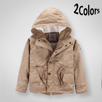Free Shipping Fleece Lining Drawstring Hooded Parkas for Boys, Zip Badge Accent Coat for Children in Winter, Kids Clothing