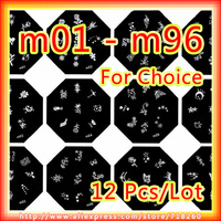 12Pcs/Lot m01-m96 Series Diameter 6cm Octagonal Nail Art Stamping Image Plate Stainless Steel Designs Hot Sell