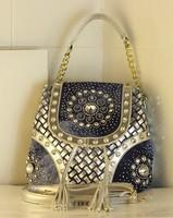 New Fashion Designer Women's Shoulder Messenger Bag Handbag Rivet Chains PU Leather Woven Jean Diamante Famous Brand Whloesale