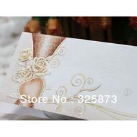 10PCS/LOT  Embossing and Hot Stamp Flower Printing  Elegant Wedding Invitations Folding T287