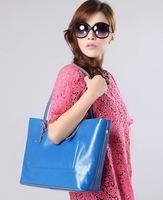2014 genuine leather handbags for women composite package cowhide leather casual large shoulder totes bags black blue red