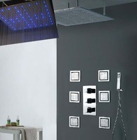 40 inches luxury wall mounted rainfall shower with 4 inches body shower jets led rainfall shower set