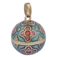 Free shipping Pregnant Women wearing Retro Harmony Ball 925 Silver Jewelry Inlaid red flowers 1 pc sales LD255