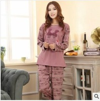 Autumn new long-sleeved cotton pajamas for women cartoon cute sleepwear pyjamas costume home clothes nightgown sleep lounge set