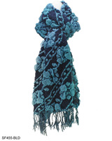 6 Colors Warm Winter Scarves New Arrival 2013 Women Flower Pattern Plicated Colour Block Scarf with Tassel Free Shipping SF455