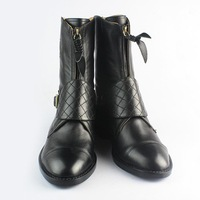 Womens trendy ankle boots with buckle genuine leather upper and lining fashion black boots for women