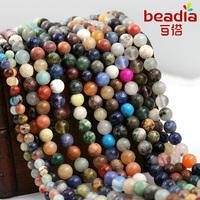 4mm & 6mm Loose Semi Precious Nature Jasper Beads,Mix Colors Round Shape