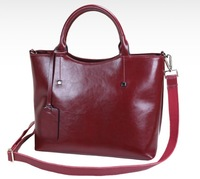 Rivet wax cowhide women's genuine leather handbags lady shoulder totes bag with five different color in stock ,retail