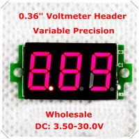 """0.36"""" Digital Voltmeter  Header dc 3.50-30.0 No Lead 3 digit  Voltage Panel Meter led Display Color : Red  [ 100 pieces / lot]"""