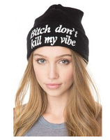 2014 Brand New Fashion  Men and Women Hiphop Wool Winter Knitted Bitch Don't Kill My Vibe Outdoor Ski Beanie Hats  Free Shipping