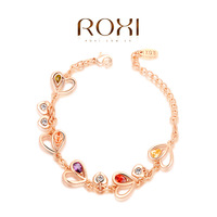 cz bracelet genuine Austrian crystals luxury heart bracelet rose gold plated 100%hand made jewelry 2060002800
