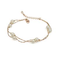 fashion white pearl bracelet women,2 chain &  link pearl bracelet 170408 -29.5,