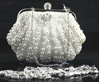 Wholesale Price Bag Women's Imitation Pearls Evening Bags Handmade Shell-Shaped Beaded Clutch Purse Floral Party Handbag NO05793