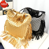 2014 NEW Tassel Woven Large Shoulder Bag Women Fashion Casual Soft PU Leather Zipper Messenger Bags Female Party Handmade