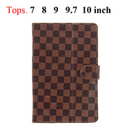 "7 8 9 9.7 10 Inch Universal Plaid Protective Leather Stand Case with Magnetic Closure for 7"" 8"" 9"" 9.7"" 10""Tablet PC"