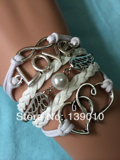 Free Shipping!6PCS/LOT!Antique Silver White Leather Heart Wing Bead LOVE Infinity Bracelet Unique Women Costume Jewelry S-359(China (Mainland))