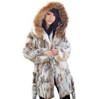 2014 new autumn and winter ladies 100% real natural rabbit fur coat hood medium-long, customized TP2