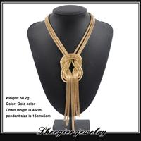 Fashion gold metal tassel Chokers necklaces women long Tassel chain pendants necklace vintage collar Personality women jewlery