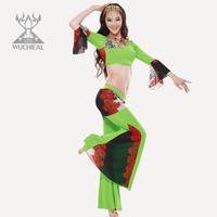 2014 New Mesh Printing 2 Pieces Top&Pants Belly Dance Costume Milk Silk Leopard Print Practice Suit 8 Colors TP 1582