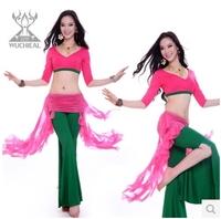 2014 New 2 Pieces Top&Pants Milk Silk Belly Dance Practice Clothes Suit,Belly Dance Costume 5 Colors TP2118