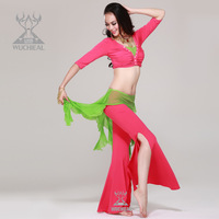 Crazy Promotions!2014 New 3 Pieces Bra&Belt&Pants Crystal Mesh Cotton Spandex Belly Dance Practice Suit,14 Colours TP 2033
