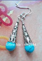 FREE SHIPPING Silver jewelry earring national trend drop earring turquoise tibetan jewelry silver earrings