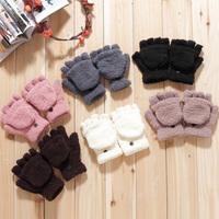 (Min order is $10) E8279 female winter multifunctional semi-finger flip thermal gloves coral fleece flip semi-finger keyboard