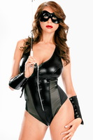 2-Pc Dear Lover Black Wet Look Leather Expose Zipper Romper Boyshort Bottom with Fingerless Gloves Sexy Party Clubwear 9177