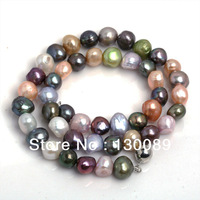 Color Mixing Barouqe Pearl Necklace,Freshwater,Natural Cultured Pearl Jewelry 9_10mm Beads Unice Mom's Gift Free Shipping
