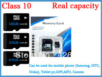 real capacity 2pcs/lot class10 micro sd card TF card  memory card 16GB 32GB 64GB  with adapter free shipping