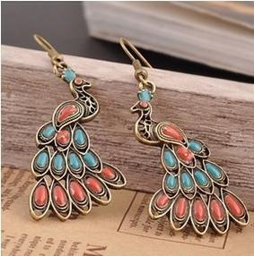 ES551 Hot 2014 New Hot Bohemian Retro Fashion Beautiful Peacock Earrings Wholesales Free Shipping