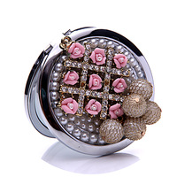 Crystal pink flower pocket mirror portable double dual sides stainless steel frame cosmetic makeup