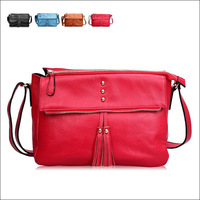 GENUINE LEATHER Lady's Evening Bag / Clutch Bag Shoulder bag, fashion Tassel Pendant handbag black / red / blue / yellow colors