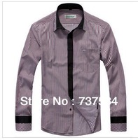 free shipping new striped long-sleeved shirt male taxi fertilizer XL Men's Shirt King Shirt