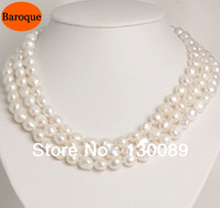Free Shipping! Multilayer Natural Baroque Pearl Necklace,Freshwater With Shell Carving Clasp Fashion Pearl Jewelry Bride's Gift