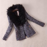 New Fashion 2013 Women's Winter Slim Woolen Short Jacket Coat Outwear turn-down fur collar M,L,XL,XXL Black 3575 Free Shipping