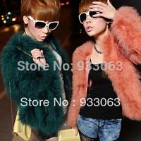Free shipping Fashion Autumn and winter women luxury ladies fashion ostrich wool turkey wool faux coat overcoat