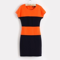 Casual dress spring and summer Spice Girl feminine mixed colors Slim was thin dress