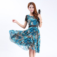 2013 fashion women's chiffon dress  Round Neck Floral Prints skirt slim plus size