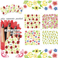 WHOLESALE 50pcs/lot Full-tip Nail Tattoo Nail sticker Water decals Nail Art Stickers nail accessories For Finger Beauty Desgin