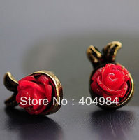 FREE SHIPPING Fashion accessories vintage red rose stud earring hot-selling
