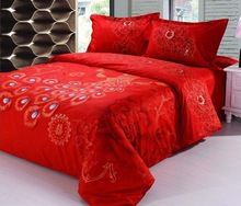 100% cotton red Luxury Peacock and Peony 4pcs Chinese traditional wedding bedding set King/Queen size/B2066 Air shipping(China (Mainland))