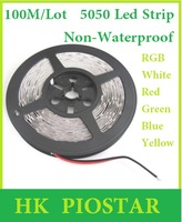100M/Lot Non-Waterproof 12V 5050 60LED/M LED Strip light / lighting LED Flexible Strip Ribbon Red Blue Green Yellow White RGB
