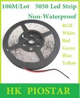 100M/Lot Non-Waterproof 12V 5050 60LED/M LED Strip light / lighting LED Flexible Strip Ribbon Red Blue Green Yellow White RGB