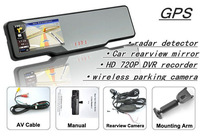 free shipping Car rearview mirror+GPS+HD 720P DVR recorder+radar detector+bluetooth talk+wireless parking camera