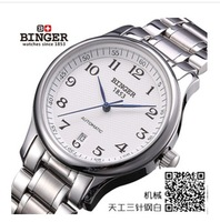 HOT SALE 2014 Swiss Brand Binger Watches Luxury Men Mechanical Hand Wind Leather Strap Watch Military Skeleton dress Wristwatch