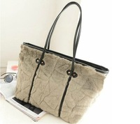 Corduroy women handbag famous brands designers 2013 new styles hot sales villus shoulder bag free shipping